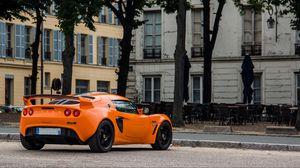 Превью обои lotus exige, lotus, автомобиль, оранжевый, вид сзади