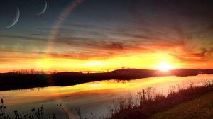 Превью обои лучи, небо, река, закат, солнце