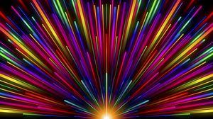 Превью обои лучи, полосы, разноцветный, свечение, радуга