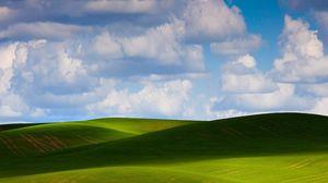 Превью обои луга, равнина, зелень, небо