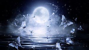 Превью обои луна, бабочки, звезды, блеск, арт