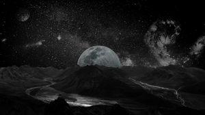 Превью обои луна, планета, звезды, галактика, космос