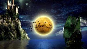 Превью обои луна, птицы, корабль, вода, замок, небо, звезды