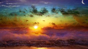 Превью обои луна, солнце, закат, вечер, слияние, день, ночь, море, волны, туман, облака