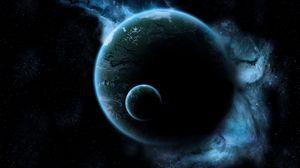 Превью обои луна, свечение, темный, космос, полет