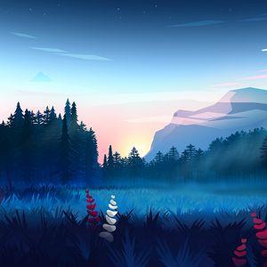 Превью обои лужайка, лес, горы, туман, пейзаж, арт