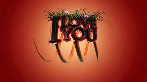 Превью обои любовь, признание, цветы, трава, буквы