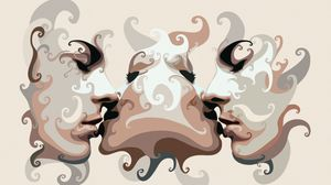Превью обои люди, лица, прикосновение, поцелуй, сюрреализм