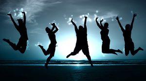 Превью обои люди, прыжок, счастье, берег, тень, образ