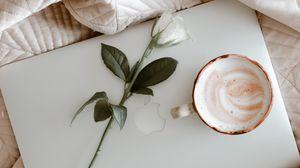 Превью обои macbook, кофе, чашка, роза, ткань