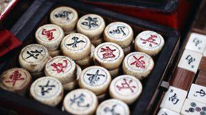 Превью обои маджонг, игра, кости, фигурки, иероглифы