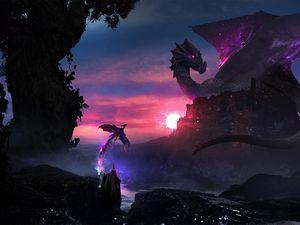 Превью обои маг, дракон, арт, магия, фантазия