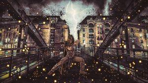 Превью обои маг, колдун, арт, здания, магия