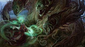 Превью обои маг, колдун, чудовища, деревья, лес