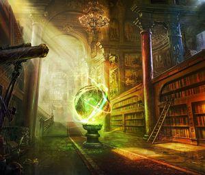 Превью обои магия, шар, библиотека, колонны, замок