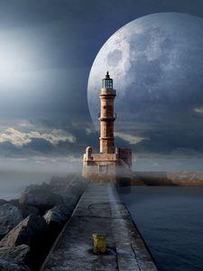 Превью обои маяк, луна, пирс, море