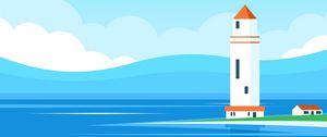 Превью обои маяк, здание, море, арт, вектор