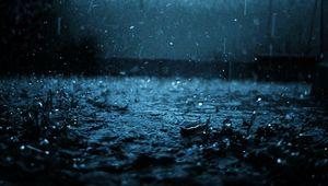 Превью обои макро, капля, черный, синий, дождь