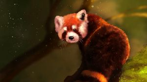 Превью обои малая панда, коричневый, пушистый, животное, арт