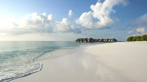 Превью обои мальдивы, берег, песок, море, тропики