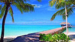 Превью обои мальдивы, небо, облака, остров, пальмы, бунгало, море, океан