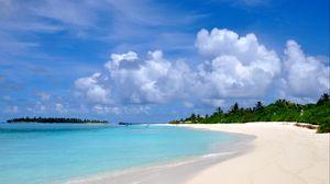 Превью обои мальдивы, пляж, песок, лето