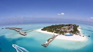Превью обои мальдивы, сейшелы, остров, курорт, отдых, высота, суша, голубая вода, релакс, рай