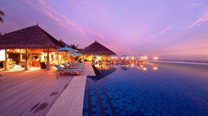 Превью обои мальдивы, тропики, пляж, курорт, вечер