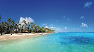 Превью обои мальдивы, тропики, пляж, пальмы, песок