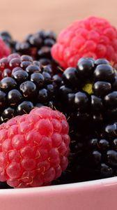 Превью обои малина, ежевика, ягоды, миска