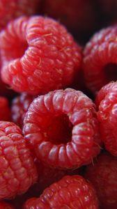 Превью обои малина, ягоды, спелый, красный, макро
