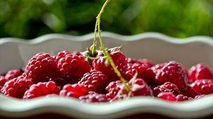Превью обои малина, тарелка, тень, ягоды