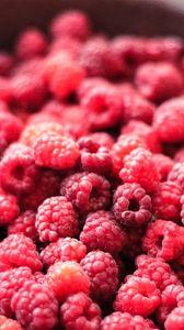 Превью обои малина, ягоды, спелый, тарелка