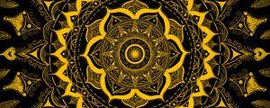 Превью обои мандала, узор, абстракция, запутанный, желтый