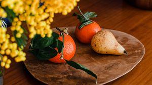 Превью обои мандарины, груша, фрукты, мимоза, цветы, букет