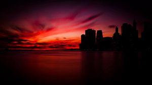 Превью обои manhattan, new york, манхэттен, нью-йорк, вечер, тень