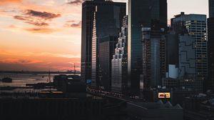 Превью обои манхэттен, нью-йорк, сша, вечер, строения