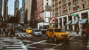 Превью обои манхэттен, нью-йорк, улица, авто