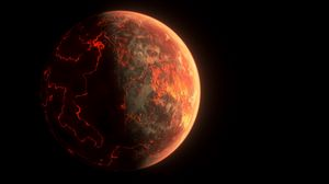 Превью обои марс, планета, трещины, лава, черный