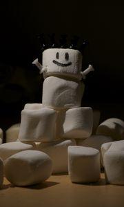 Превью обои маршмеллоу, сладости, снеговик, забавный