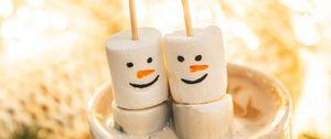 Превью обои маршмеллоу, снеговики, какао, кружка, десерт