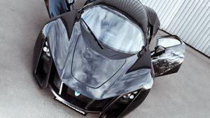 Превью обои marussia, b2, black, суперкар, вид спереди, двери