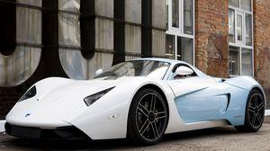 Превью обои marussia, blue, b1, белый, авто, вид сбоку
