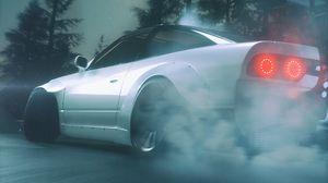 Превью обои машина, белый, дрифт, дым, асфальт