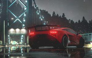 Превью обои машина, красный, спорткар, вид сбоку, подсветка, мокрый