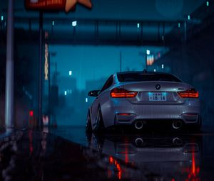 Превью обои машина, серый, мокрый, ночь, дождь