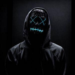 Превью обои маска, неон, аноним, черный