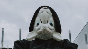 Превью обои маска, овца, капюшон, худи, черный