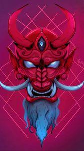 Превью обои маска, демон, рога, клыки, арт
