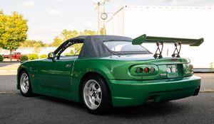 Превью обои mazda mx-5, mazda, автомобиль, зеленый, тюнинг